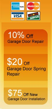 10% Off Garade Door Repair, $20 off Garage Door Sping Repair, $75 Off New Garage Door Installation
